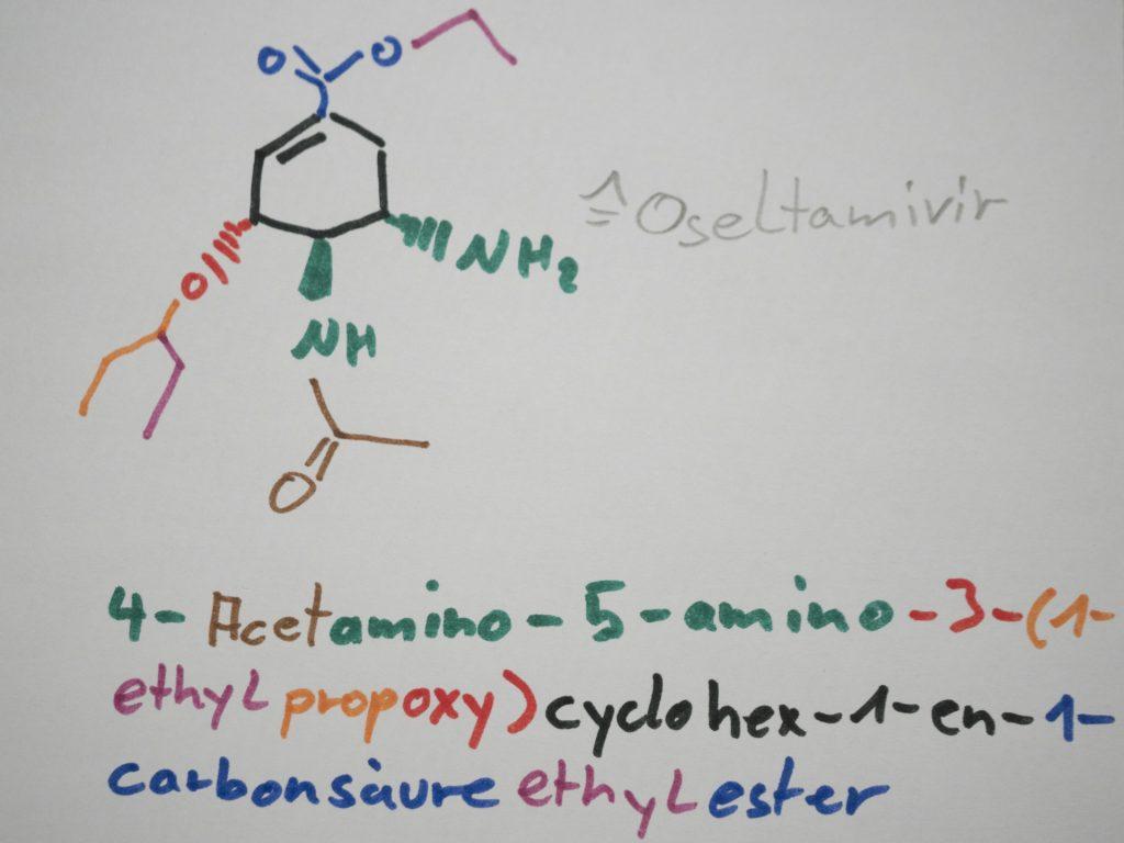 chemische Struktur von Oseltamivir