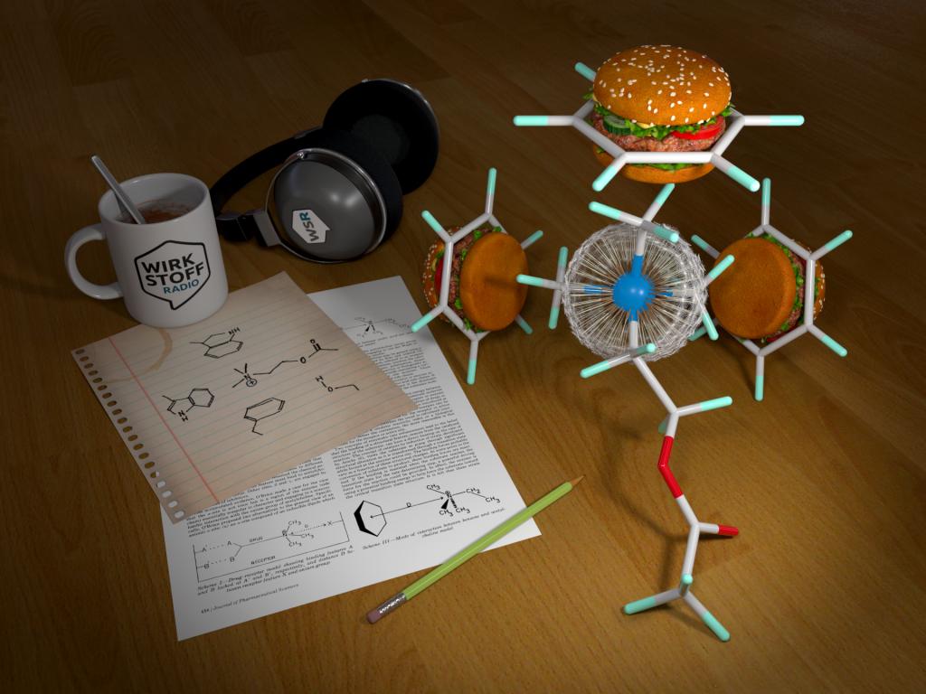 Acetylcholin dargestellt als Pusteblume, gebunden an drei aromatische Ringe dargestellt als Hamburger - auf einem Tisch liegend auf dem ein wissenschaftliches Paper, eine Molekülzeichnung, eine WSR-Tasse und ein Körperhörer liegen